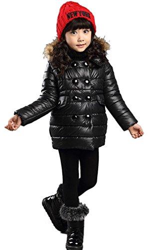 Orien Children Girl'S Thick Collar Coat Fitted Bust 82Cm Black