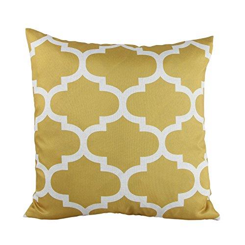 Puredown Canvas Decorative Cushion Covers Sofa Chair Seat Throw Pillow Case Quatrefoil Print Square 18X18 Inch Gold
