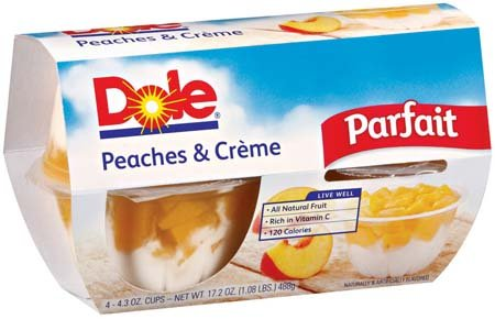 Dole Fruit Bowls Parfait Peaches and Creme 4 3 Oz 6 Pack