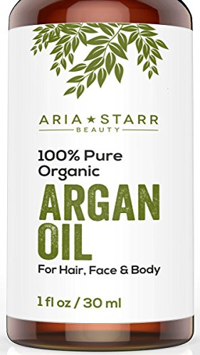 Aria Starr Beauty ORGANIC Argan Oil For Hair, Skin, Face, Nails, Cuticles & Beard- Best 100% Pure Moroccan Anti-Aging, Anti-Wrinkle Beauty Secret,EcoCert Certified Cold Pressed Moisturizer 1 OZ