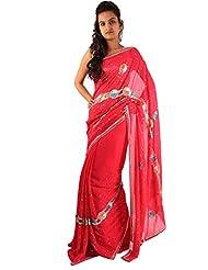 Deep Pink Wedding Wear Saree Sequins Hand Work Georgette Sari