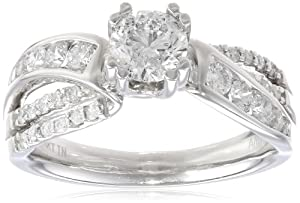 14k White Gold 0.60 ct Round Center Diamond By-Pass Engagement Ring (1.15 cttw, H-I Color, I1-I2 Clarity), Size 6