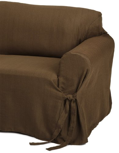 Heavy-duty Jacquard Fabric Solid Chocolate Brown Couch/sofa Cover Slipcover image