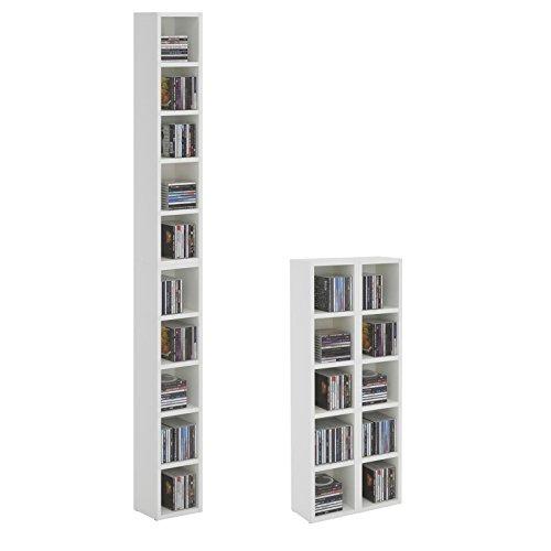 CD-DVD-Regal-Stnder-Aufbewahrung-CHART-in-wei-mit-10-Fchern-fr-bis-zu-160-CDs-20x1865-cm-Breite-x-Hhe