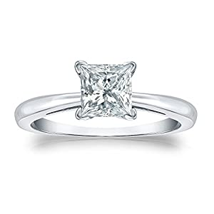 Jewel Oak 1 ct. tw. IGI Certified Princess-cut Diamond Solitaire Ring in Platinum (H-I, I1-I2), Size 6
