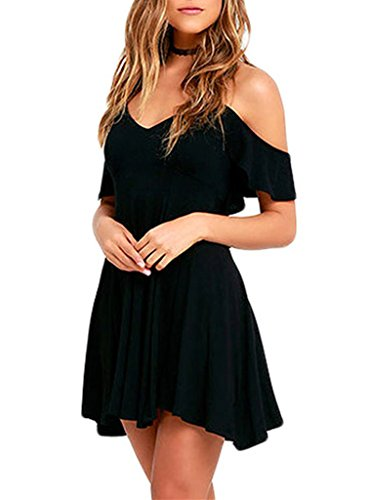 Sidefeel Women Ruffled Cold Shoulder Backless Skater Dress Large Black