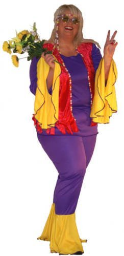 Plus Size Flower Power Ladies Costume. Sizes from 16 to 42