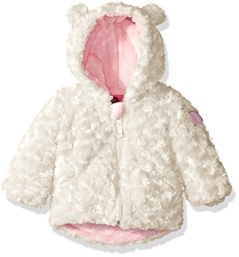Weatherproof Girls' Rosette Fur Knit Jacket, Winter White, 3/6M