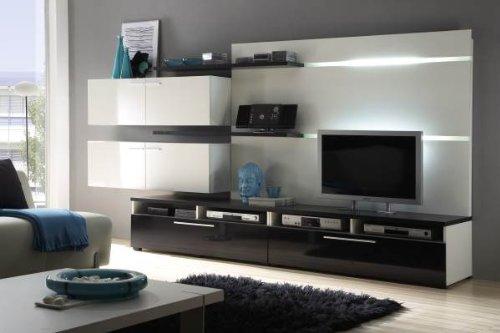 moderne wohnwand wohnzimmer schrankwand anbauwand wei