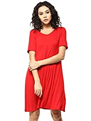 Femella Women's Red Pleated Swing Dress (DS-1506467-1016-RED-L)
