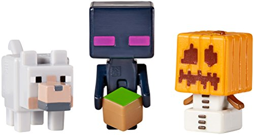 Minecraftのミニフィギュア3パックスノーゴーレム、Endermanと狼   Minecraft Mini-Figures 3 Pack Snow Golem, Enderman and Wolf