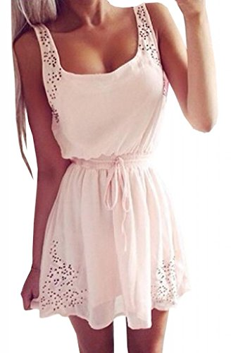 Lovaru Women's Hollow Out White Ladies Sleeveless Mini Dress