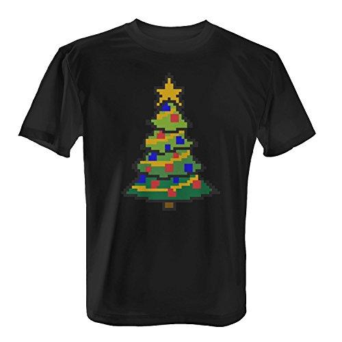 Fashionalarm-Herren-T-Shirt-8-Bit-Weihnachtsbaum-Fun-Shirt-als-Geschenk-Idee-Weihnachten-Heiligabend-Nikolaus-FarbeschwarzGreXXL