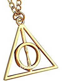 Sorella'z Harry Potter Deathly Hallows Golden Triangle Pendant With Chain