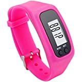 Sandistore Digital LCD Pedometer Walking Distance Calorie Counter Bracelet Fitness Tracker Watch Hot Pink
