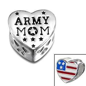 Amazon.com: ARMY Charm Bead with Us Flag 925 Sterling