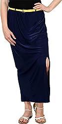 Rvestir Women's Polyester Skirt (OM156, Blue)