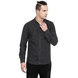 Atorse Mens Black Denim Casual Shirt