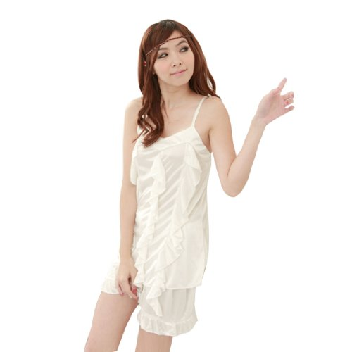 Ladies Slip Strap Flounce Front Semi Sheer Sexy Pajamas Set Ivory XS