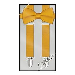 Suspender & Bow Tie Set (Adult, Gold)