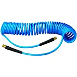 "Amflo 24-25E-RET Blue 120 PSI Polyurethane Recoil Air Hose 1/4"" x 25' With 1/4"" MNPT Swivel Ends And Bend Restrictor Fittings"