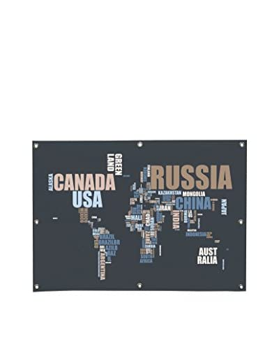 Michael Tompsett World Map In Words Canvas Wall Mural
