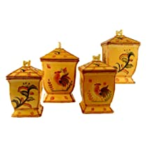 4PC CANISTER SET BAMBOO ROOSTER SUNFLOWER