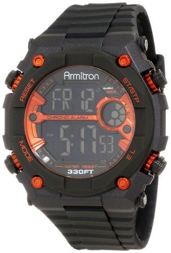 Armitron Sport Men's 40/8260ORG Large Round Metallic Orange Accented Black Resin Strap Chronograph Watch