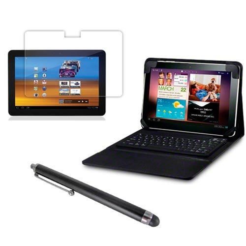 WOWparts Wireless Bluetooth Keyboard with Leather Case+Screen Protector+Touch Screen Stylus Pen for Samsung Galaxy Tab 10.1 P7510