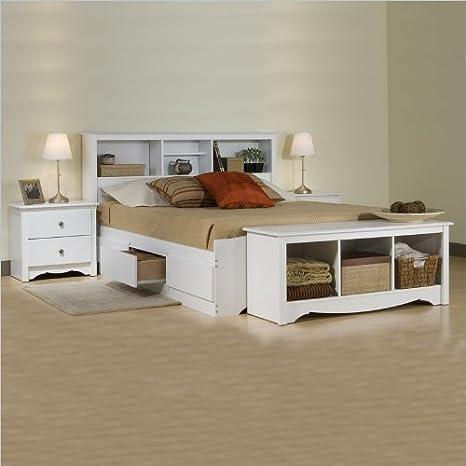 Prepac Monterey White Double Wood Platform Storage Bed 3 Piece Bedroom Set