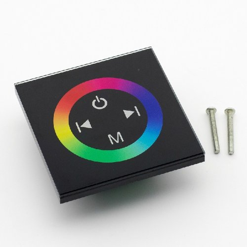 Supernight(Tm) Touch Panel Led Rgb Controller Rainbow Color Ring Dc12V-24V 12A/3 Channels-Black Version Tm08