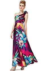 Ever Pretty One Shoulder Flower Empire Line Satin Printed Prom Party Dress 09623