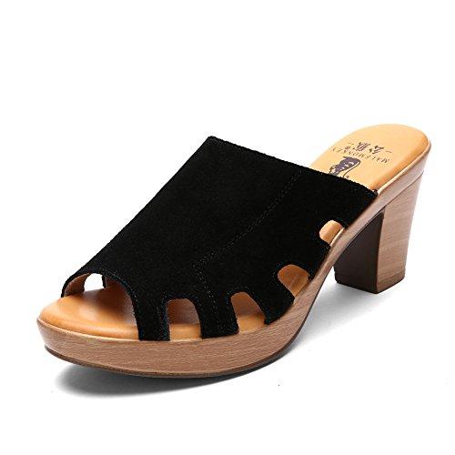 Rough en été avec des sandales et pantoufles/En cuir à talons hauts sandales/Romains sandales et pantoufles