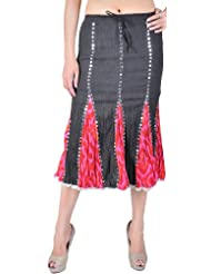 Exotic India Black And Pink Batik Midi-Skirt With Sequins