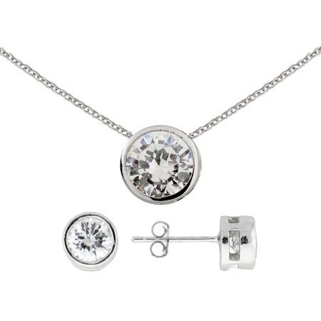 Sterling Silver Bezel Set CZ Earrings and Necklace Set Size 18 inches (16 inches 18 inches Available)