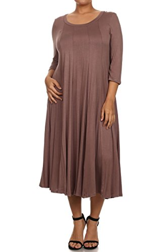 Modern Kiwi Long Sleeve Flowy Maxi Plus Size Dress Mocha 3X