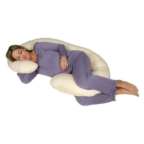 Snoogle Chic Jersey - Snoogle Total Body Pregnancy Pillow with Jersey Knit Easy on-off Zippered Cover - Sand