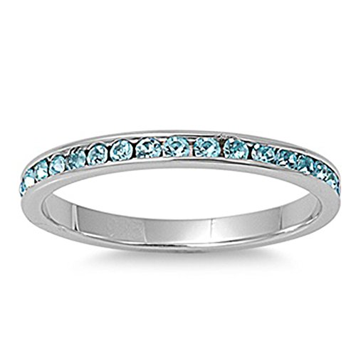 Sterling Silver Light Blue Colored Cz Eternity Ring Italian Band Solid 925 Italy 2Mm New Size 5 Valentines Day Gift