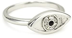 House of Harlow 1960 Sterling Silver-Plated Evil Eye Ring, Size 7