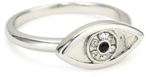House of Harlow 1960 Silver-Plated Evil Eye Ring, Size 7