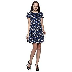 PRAKUM Women's Chiffon Regular Fit Dress Black Blue (Large)