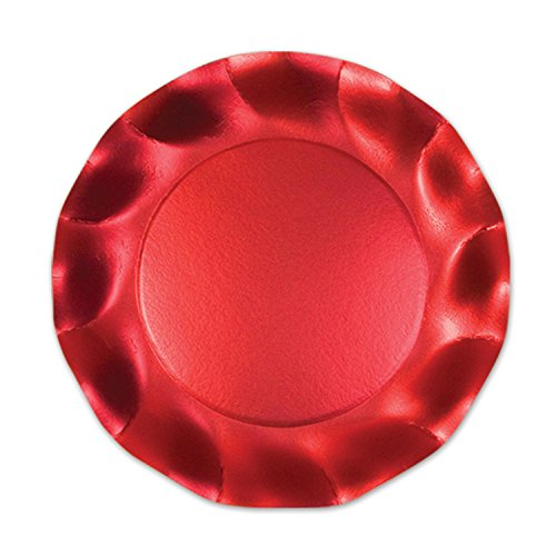 Satin Red Large Plates Party Accessory (1 count) (10/Pkg)