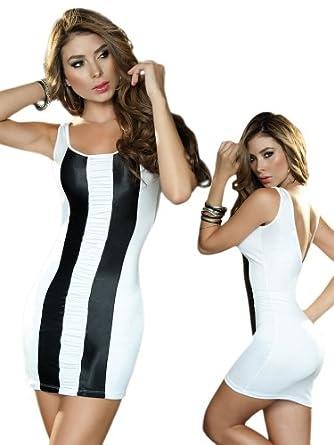 Sexy Black and White Striped Club Mini Dress - Extra Large