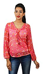 Old Khaki Art Print Georgette Casual Womens Girls Full Sleeve Top with Lace in Pink Color Plus Size