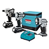 Factory-Reconditioned Makita LCT300W-R 18V Cordless Lithium-Ion 3-Piece Combo Kit