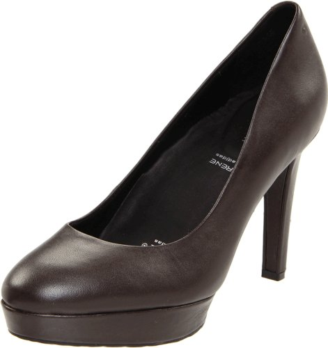 Rockport Women's Janae Pump Leather Dark Brown Platforms Heels K59702 4.5 UK
