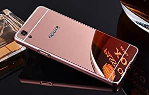 Arnav Luxury Metal Bumper + Acrylic Mirror Back Cover Case For OPPO F1 A35 rose (GOLD)