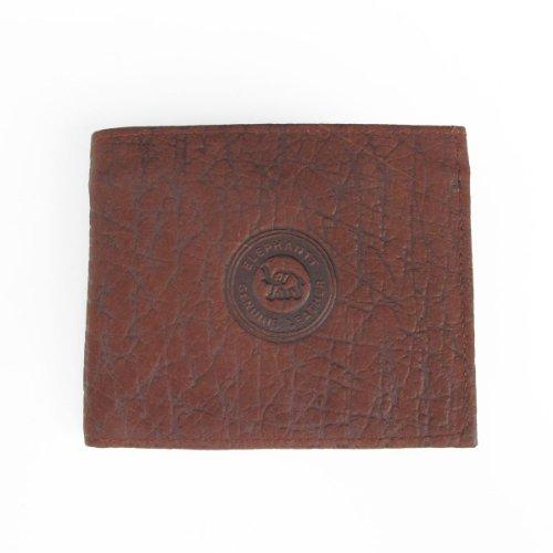 Pretty Elephant Pattern Skin Leather Bifold Brown