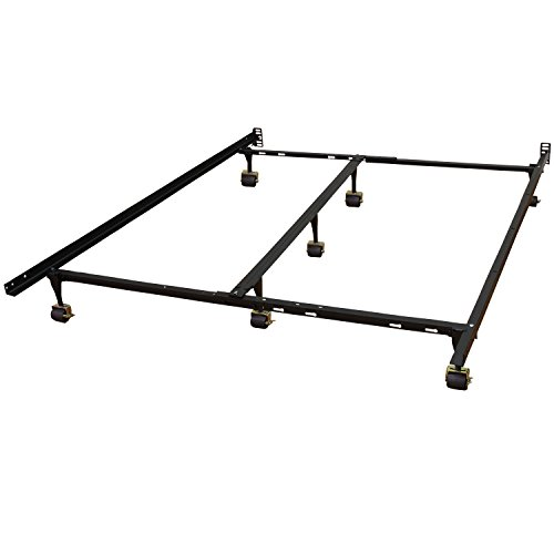 Hercules Universal Heavy Duty Adjustable Metal Bed Frame with Double Rail Center Bar and 7-Locking Rug Rollers, Queen/Twin/Twin X-Large/Full/Full X-Large/King/California King, Black (Bed Frames compare prices)