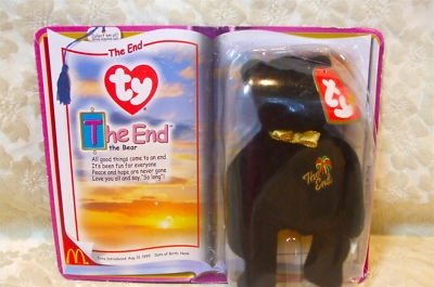 McDonald's ty Teenie Beanie Black Bear,The End,1999,NIP - 1